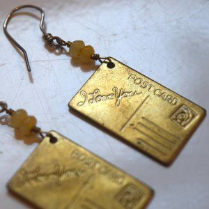 'I Love You' postcard dangle earrings
